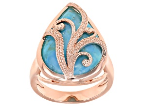 Pre-Owned Turquoise Copper Overlay Ring