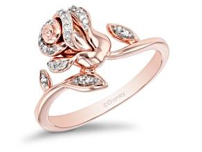 Pre-Owned Enchanted Disney Belle Rose Ring White diamond 14k Rose Gold Over Sterling Silver 0.10ctw