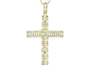 Pre-Owned White Cubic Zirconia 18K Yellow Gold Over Sterling Silver Cross Pendant With Chain 3.51ctw
