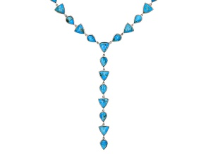 """Pre-Owned Turquoise Rhodium Over Silver 18"""" Necklace"""