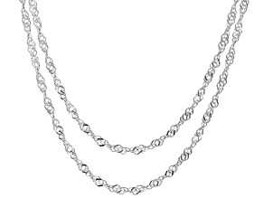 Pre-Owned Sterling Silver Diamond Cut Singapore Chain Necklace Set 18 Inch, And 20 Inch