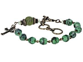 Pre-Owned Connemara Marble And Glass Bronze Stone Irish Rosary Bracelet