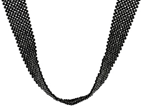 Pre-Owned Black Spinel Woven Bead Scarf