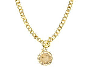 """Pre-Owned Moda Al Massimo™ 18K Yellow Gold Over Bronze Faux Lira Coin Charm 24"""" Curb Necklace"""