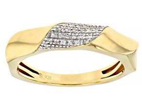 Pre-Owned White Diamond Accent 14k Yellow Gold Over Sterling Silver Band Ring