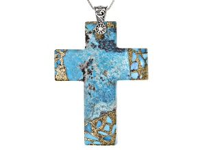Pre-Owned Turquoise Cross, Silver Pendant With Chain