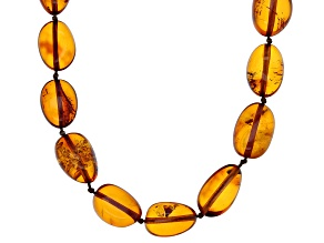 Pre-Owned Orange amber rhodium over sterling silver necklace