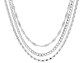"""Pre-Owned 20"""" Sterling Silver Set of 3 Necklaces"""
