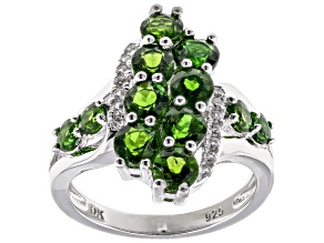 Pre-Owned Chrome Diopside Rhodium Over Sterling Silver Ring 2.40ctw