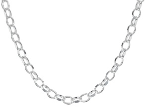 Pre-Owned Sterling Silver Polished Oval Link Chain Necklace 20 Inch