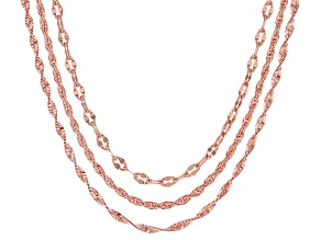 Pre-Owned 18k Rose Gold Over Bronze Mixed Chain Necklace Set 20 inch