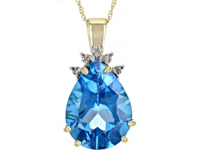 """Pre-Owned Blue Topaz And White Diamond Accent 10k Gold Pendant With 18"""" Chain 9.02ctw"""