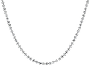 Pre-Owned Sterling Silver Diamond Cut Bead Chain Necklace 18 Inch