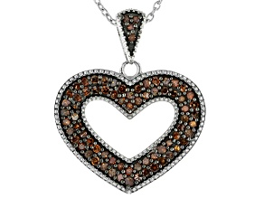 Pre-Owned Red Diamond Rhodium Over Sterling Silver Heart Pendant With Cable Chain 0.50ctw