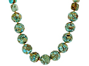 Pre-Owned Turquoise Bead Rhodium Over Sterling Silver Necklace