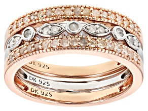Pre-Owned White Diamond 14K Rose Gold Over Sterling And Rhodium Over Sterling Silver Ring Set 0.35ct