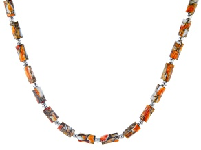 Pre-Owned Spiny Oyster Shell Rhodium Over Silver Bead Necklace
