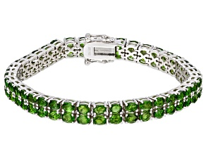 Pre-Owned Green Chrome Diopside Rhodium Over Sterling Silver Tennis Bracelet 11.74ctw