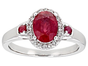Pre-Owned Red Mahaleo® Ruby Rhodium Over Sterling Silver Ring 1.80ctw