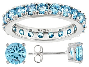 Pre-Owned Blue Cubic Zirconia Rhodium Over Sterling Silver Ring And Earrings 6.31ctw
