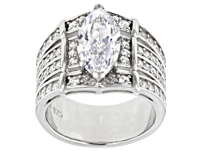 Pre-Owned White Cubic Zirconia Rhodium Over Sterling Silver Ring With Bands 5.95ctw (3.31ctw DEW)