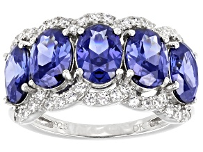 Pre-Owned Blue and White Cubic Zirconia Rhodium Over Sterling Silver Ring