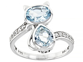 Pre-Owned Sky Blue Topaz Rhodium Over Sterling Silver Cat Ring 2.56ctw
