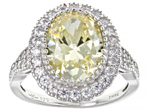 Pre-Owned Yellow And White Cubic Zirconia Rhodium Over Sterling Silver Ring 5.45ctw