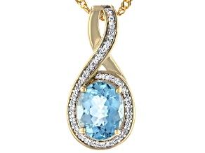 Pre-Owned Cabo Delgado Blue Apatite & Zircon 18k Gold Over Silver Pendant With Chain 2.93ctw
