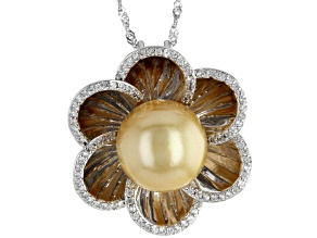 Pre-Owned Golden Cultured South Sea Pearl & White Zircon 0.67ctw Rhodium Over Sterling Silver Pendan