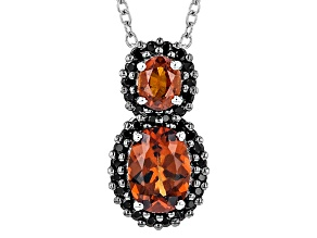 Pre-Owned Red Hessonite Sterling Silver Pendant With Chain 1.91ctw