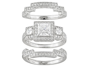 Pre-Owned White Cubic Zirconia Sterling Silver Bridal Set 3.75ctw