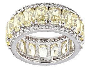 Pre-Owned Yellow & White Cubic Zirconia Rhodium Over Sterling Silver Band Ring 16.69ctw