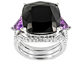 Pre-Owned Black Spinel Rhodium Over Silver Ring with Enhancer 2-Piece Set 12.94ctw