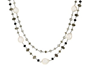 Pre-Owned White Cultured Freshwater Pearl, Labradorite, Agate, Glass Silver Necklace 11-15mm