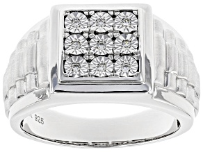 Pre-Owned White Cubic Zirconia Rhodium Over Sterling Silver Mens Ring 0.26ctw