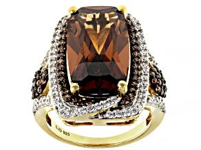 Pre-Owned Mocha And White Cubic Zirconia 18k Yellow Gold Over Sterling Silver Ring 18.48ctw