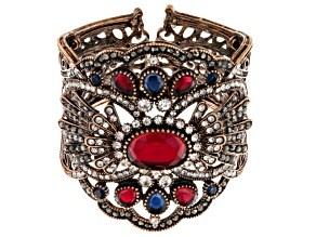 Pre-Owned Multicolor Crystal Antiqued Rose Tone Cuff Bracelet