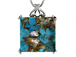 Pre-Owned Turquoise Blended With Abalone Shell Rhodium Over Silver Pendant With Chain