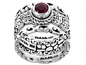 Pre-Owned Red Mahaleo(R) Ruby Sterling Silver Ring Set of 3 0.60ct