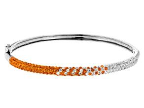 Pre-Owned Preciosa Crystal Orange And White Thin Bangle Bracelet