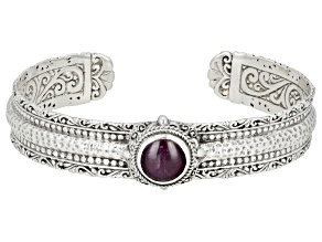 Pre-Owned Ruby Cabochon Sterling Silver Cuff Bracelet