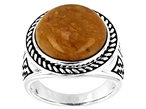 Pre-Owned Mens Yellow Jasper Rhodium Over Silver Solitaire Ring
