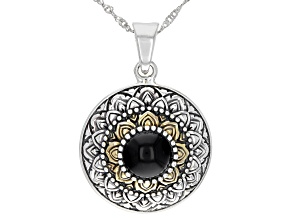 Pre-Owned Black Onyx Silver & 18K Gold Over Silver Two-Tone    Enhancer With Chain