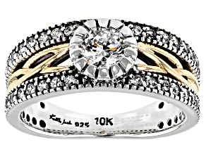 Pre-Owned White Cubic Zirconia Sterling Silver and 10K Yellow Gold Brave Heart Ring