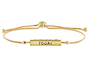 """Pre-Owned 10KT Yellow Gold Bar """"Today, Tomorrow, Forever""""  Slider Bracelet Adjust up to 10 Inch"""