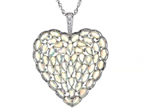 Pre-Owned Multi Color Ethiopian Opal Rhodium Over Silver Pendant With Chain 6.58ctw
