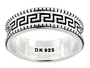 Pre-Owned Rhodium Over Sterling Silver 6MM Greek Design Band Ring