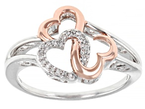 Pre-Owned White Diamond Accent Rhodium And 14k Rose Gold Over Sterling Silver Ring
