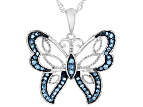 Pre-Owned Blue Diamond Rhodium Over Sterling Silver Butterfly Pendant With Chain 0.30ctw